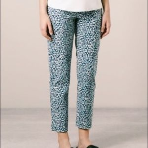 Tory Burch Tonal Print Cropped Trousers